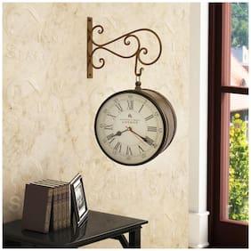 Home Sparkle Golden Two Sides Station Clock