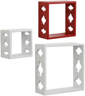 Home Sparkle Set of 3 cube Wall Shelves (White And Red)