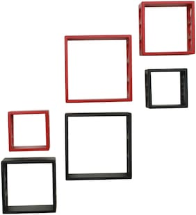 Home Sparkle 6 Cube Shelves (Black And Red)