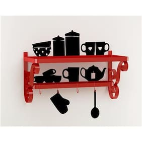 Home Sparkle Cup Plate Rack With Wall Stickers