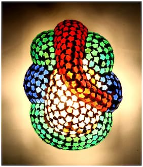 Home Sparkle Multicolor Lord Ganesha Shaped Glass Wall Light & Lamp