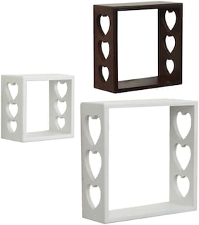 Home Sparkle Set of 3 cube Wall Shelves (White And Brown)