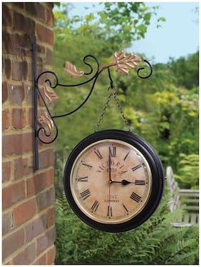 Home Sparkle Black Two Sides Station Clock