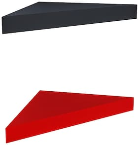 Home Sparkle Set of 2 Corner Wall Shelves (Black And Red)