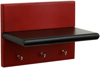 Home Sparkle Wall Shelf Cum Key holder (Red And Black)