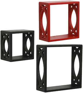 Home Sparkle Set of 3 cube Wall Shelves (Black And Red)