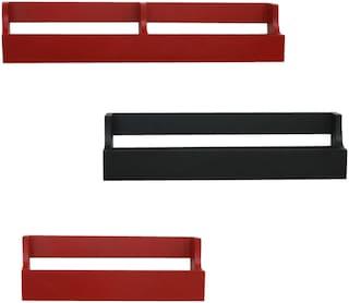 Home Sparkle Set Of 3 Pocket Shelf (Red And Black)