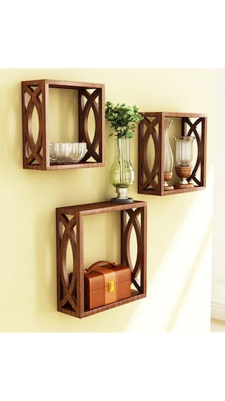 wooden wall decoration. Home Store Brown Wooden Wall Shelf Of Decor Buy Online at Low
