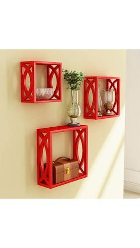 Red Wooden Wall Decor : Buy home store red wooden wall shelf of decor