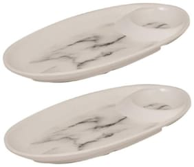 HOME TREE MELAMINE CHIP & DIP PLATE Tray  (PACK OF 2 PCS)