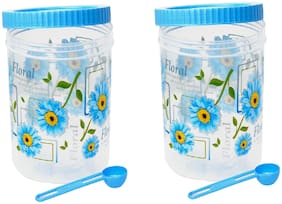 HOME TREE 3000 ml Blue & White Plastic Container Set - Set of 2
