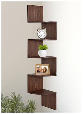 KRAFTSTICS Wooden Zigzag Shape Corner Wall Shelf, Brown, (Number of Shelves - 5) [Set of 1]