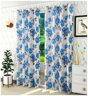 HOMECRUST Polyester Window Blackout Blue Regular Curtain ( Eyelet Closure , Floral )
