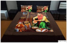 HOMECRUST Velvet 3D Printed Double Size Bedsheet 150 TC ( 1 Bedsheet With 2 Pillow Covers , Multi )