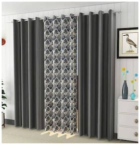 HOMECRUST Polyester Window Semi Transparent Grey Regular Curtain ( Eyelet Closure , Printed )