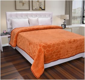 Homecrust Polyester Ultra-Soft Mink Blanket In Single Bed-Size-Orange Color