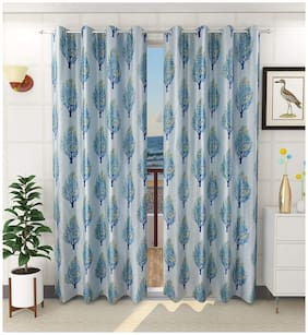Homecrust Polyester 150 cm (5 Feet) Tree Design Window Curtain in Floral pattern-Pack of 2-Blue