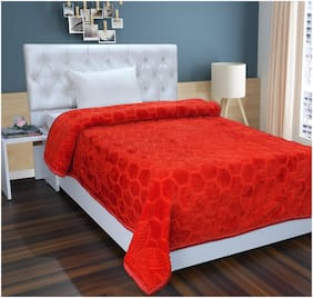 Homecrust Polyester Ultra-Soft Mink Blanket In Single Bed-Size-Red Color