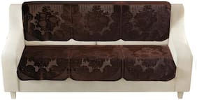 Homecrust Premium Velvet 3 Seater Sofa Cover For Living Room -(Brown;6 pcs)