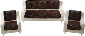 Homecrust Premium Velvet 5 Seater Sofa Cover For Living Room -(Brown;10 pcs)