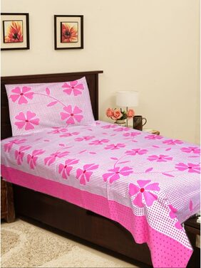Homefab India Cotton Single Bed Sheet & 1 Pillow Cover