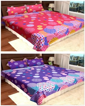 Homefab India Cotton Double Bedsheets Set Of 2 With 4 Pillow Covers