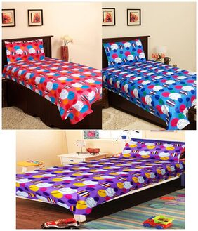 Homefab India Cotton Multi Color Single Bed Sheet Combo