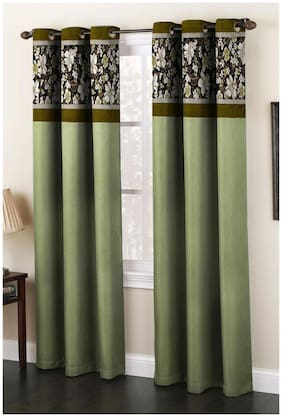 Homefab India Set of 2 Fusion Green Window Curtains (5X4ft.)
