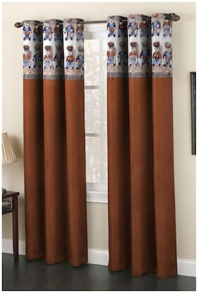 Homefab India Set of 2 Polyester Brown Window Curtains (5X4ft.)