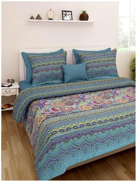 Homefab India Cotton Printed Double Size Bedsheet 140 TC ( 1 Bedsheet With 2 Pillow Covers , Multi )
