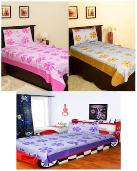 Homefab India Set of 3 Cotton Single BedSheets with 3 Pillow Covers