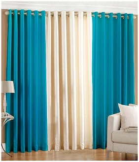 Homefab India Polyester Blue and Cream Window curtain (6 x 4 ft) - set of 3