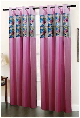 Homefab India Set Of 2 Floral Pink Window Curtain - 6 Ft
