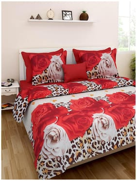 Homefab India Microfibre Printed Double Size Bedsheet 140 TC ( 1 Bedsheet With 2 Pillow Covers , Multi )