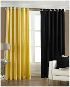 Homefab India Set of 2 Royal Silky Multi Color Window Curtains (5X4ft.)