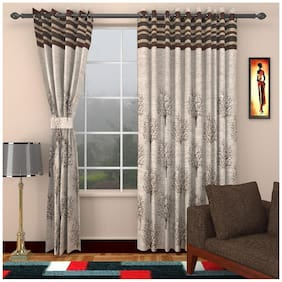 Homefab India Brown And Grey Jute Door Curtain (7 ft) - Pack Of 2