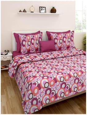 Homefab India Cotton Printed Double Size Bedsheet 120 TC ( 1 Bedsheet With 2 Pillow Covers , Multi )