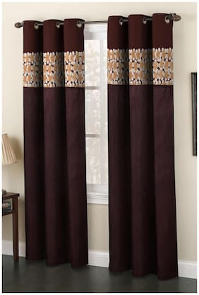 Homefab India Set of 2 Polyester Coffee Window Curtains (5X4ft.)