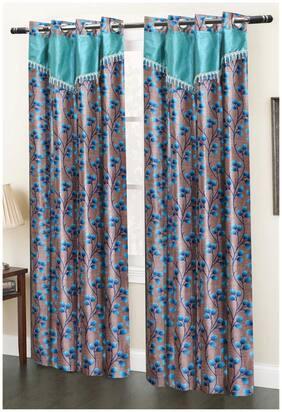 Homefab India Set of 2 Designer Blue Window Curtains (5X4ft)