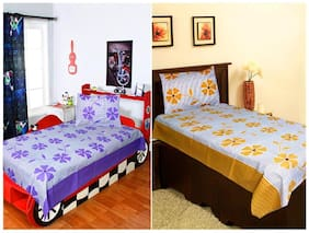 Homefab India Set of 2 Cotton Single BedSheets with 2 Pillow Covers