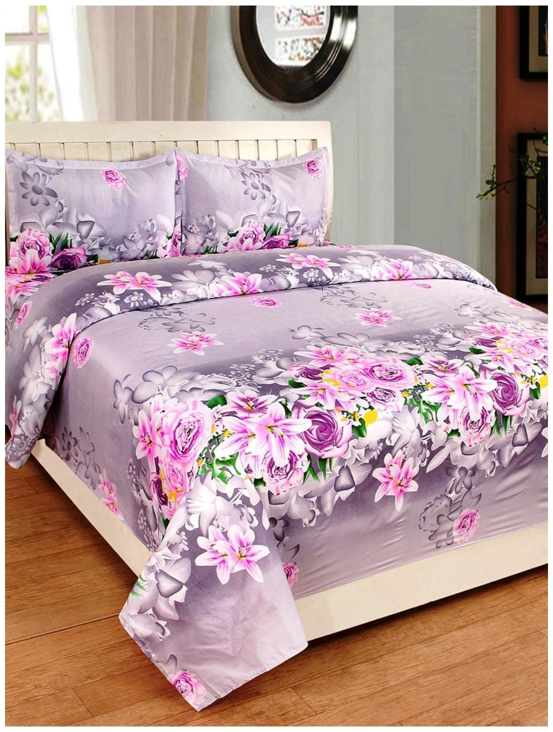 Homefab India 140 TC 3D Printed PolyCotton Double Bed Sheet with 2...