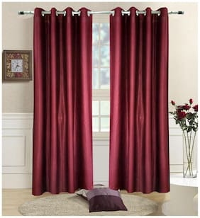 Homefab India Set of 2 Plain Maroon Window Curtains 1.52 m (5 ft) X 1.21 m (4 ft)