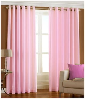 Homefab India Set of 2 Royal Silky Baby Pink Window Curtains (5x4 ft)