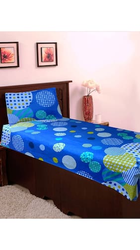 Homefab India Cotton Single Blue Bedsheet With 1 Pillow Cover