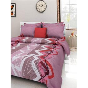 Homefab India Pink Cotton Double Bedsheet With 2 Pillow Covers