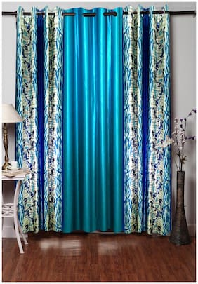 Homefab India Polyester Blue Window curtain (5 x 4 ft) - set of 3