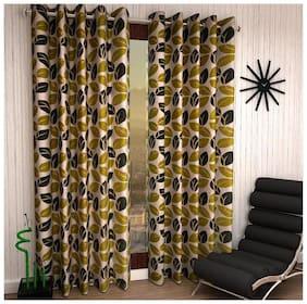 Homefab India Set of 2 Leaf Green Window Curtains (5x4 Ft)