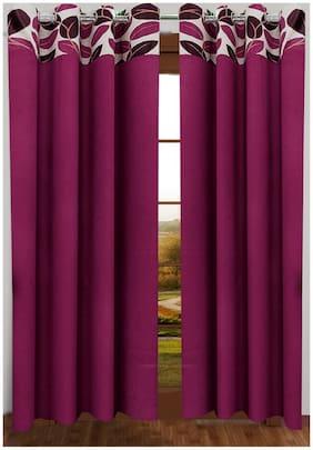Homefab India Set of 2 Stylish Leaf Wine Window Curtains (5X4ft.)