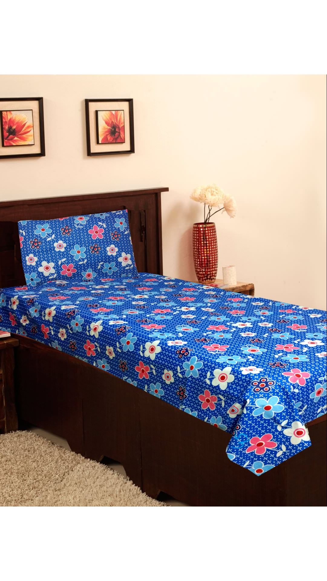Simple Elegant Homefab India Cotton Single Bed Sheet & 1 Pillow Cover Size Single Picture - Beautiful indian bed sheets Pictures