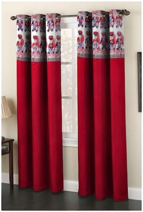 Homefab India Set of 2 Polyester Maroon Window Curtains (5X4ft.)